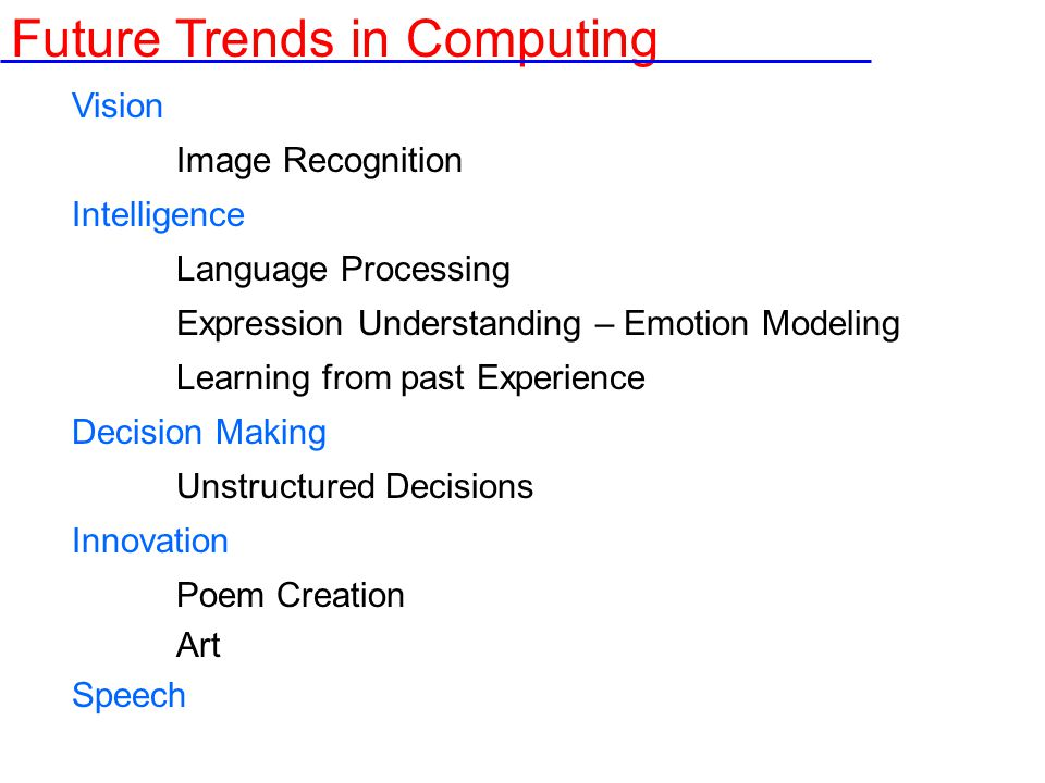 Vision Image Recognition Intelligence Language Processing Expression Understanding – Emotion Modeling Learning from past Experience Decision Making Unstructured Decisions Innovation Poem Creation Art Speech Future Trends in Computing