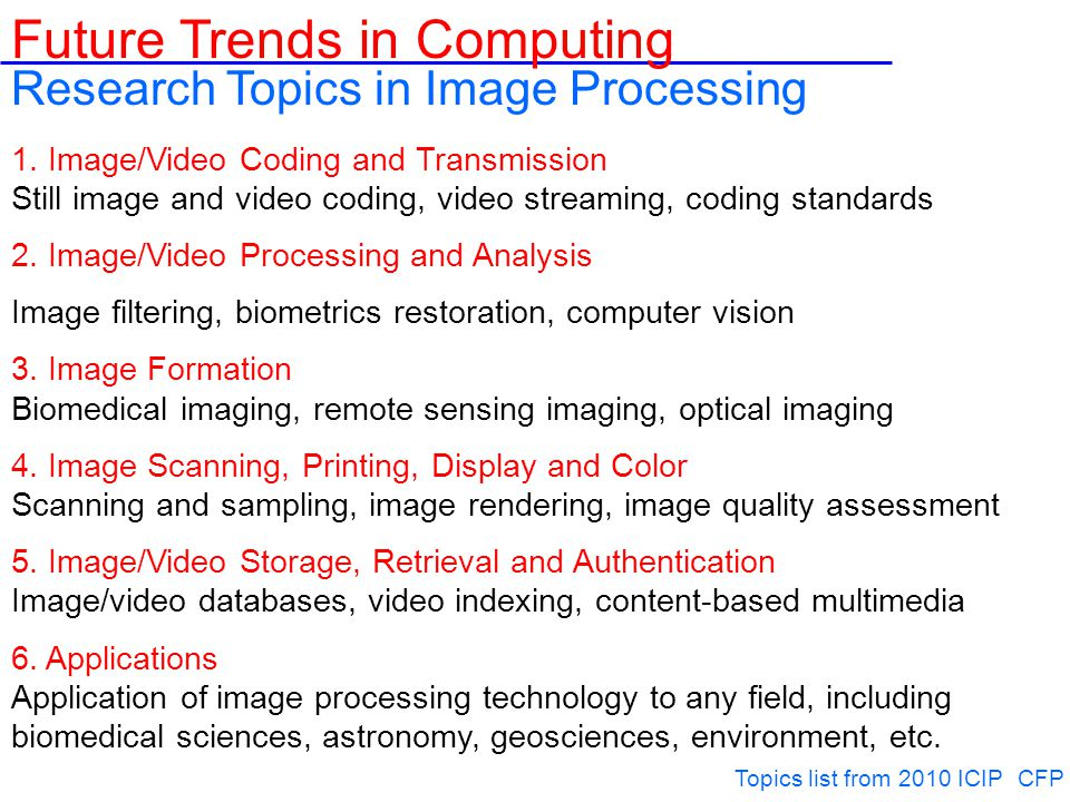 Pervasive/ubiquitous computing and intelligence Autonomic, reliability and fault-tolerance Trust, security and privacy Computing Ethics Dependable Computing and Systems Web-based Computing and Service-Oriented Architecture Peta Scale Computing Cloud Computing Cryptography, Data communication, Operations Research Data Encryption, Security, Spam Detection, Software Engineering, Distributed OS, OPEN Source Future Trends in Computing Other Areas Include