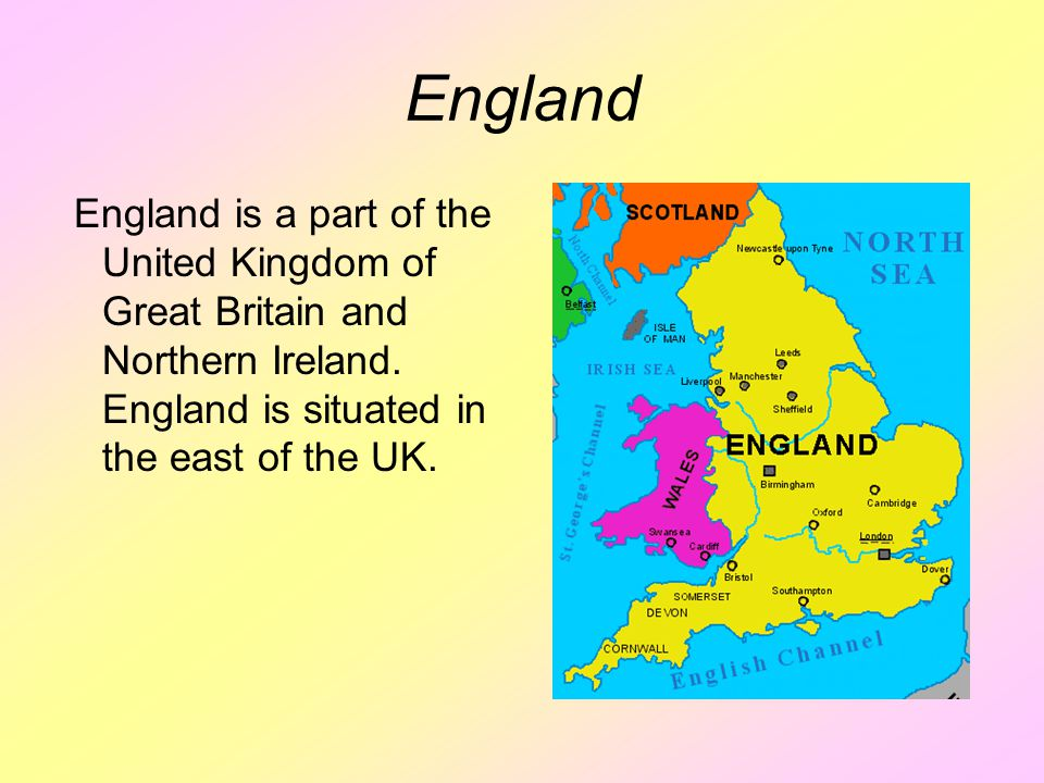 England England is a part of the United Kingdom of Great Britain and Northern Ireland.