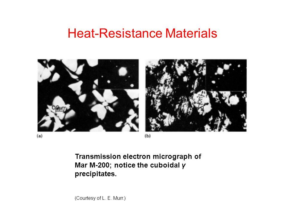Transmission electron micrograph of Mar M-200; notice the cuboidal γ precipitates.