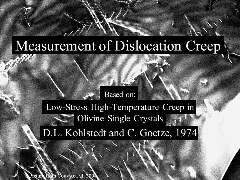 I. The experiment II. A closer look at dislocation creep