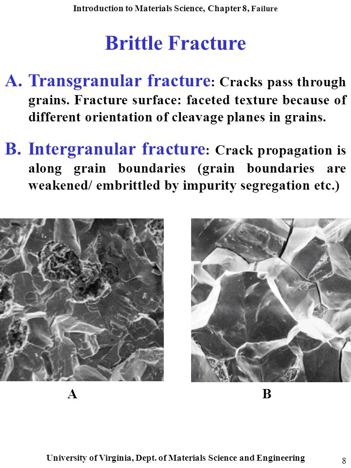 Introduction to Materials Science, Chapter 8, Failure University of Virginia, Dept. of Materials Science and Engineering 8 A.Transgranular fracture :