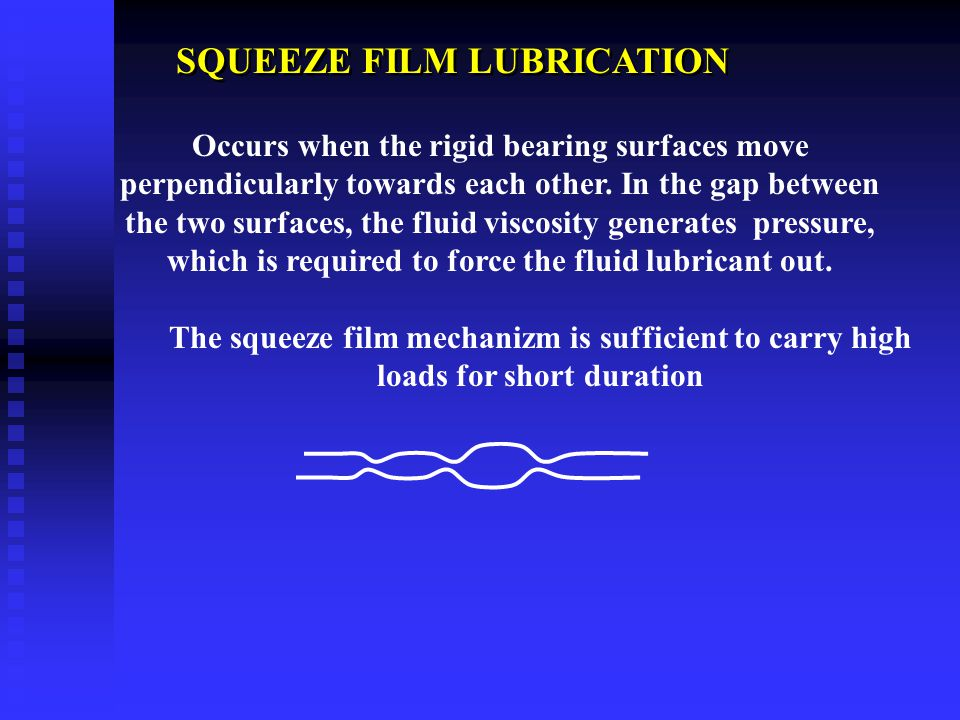 HYDRODYNAMIC LUBRICATION Occurs when nonparallel rigid bearing surfaces lubricated by a fluid film move tangentially with respect to each other (i.e.