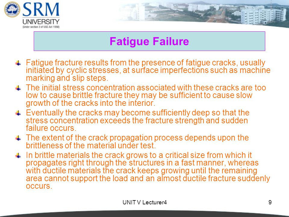 UNIT V Lecturer49 Fatigue Failure Fatigue fracture results from the presence of fatigue cracks, usually initiated by cyclic stresses, at surface imper