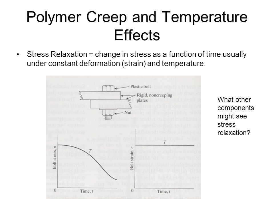 Polymer Creep and Temperature Effects Stress Relaxation = change in stress as a function of time usually under constant deformation (strain) and tempe