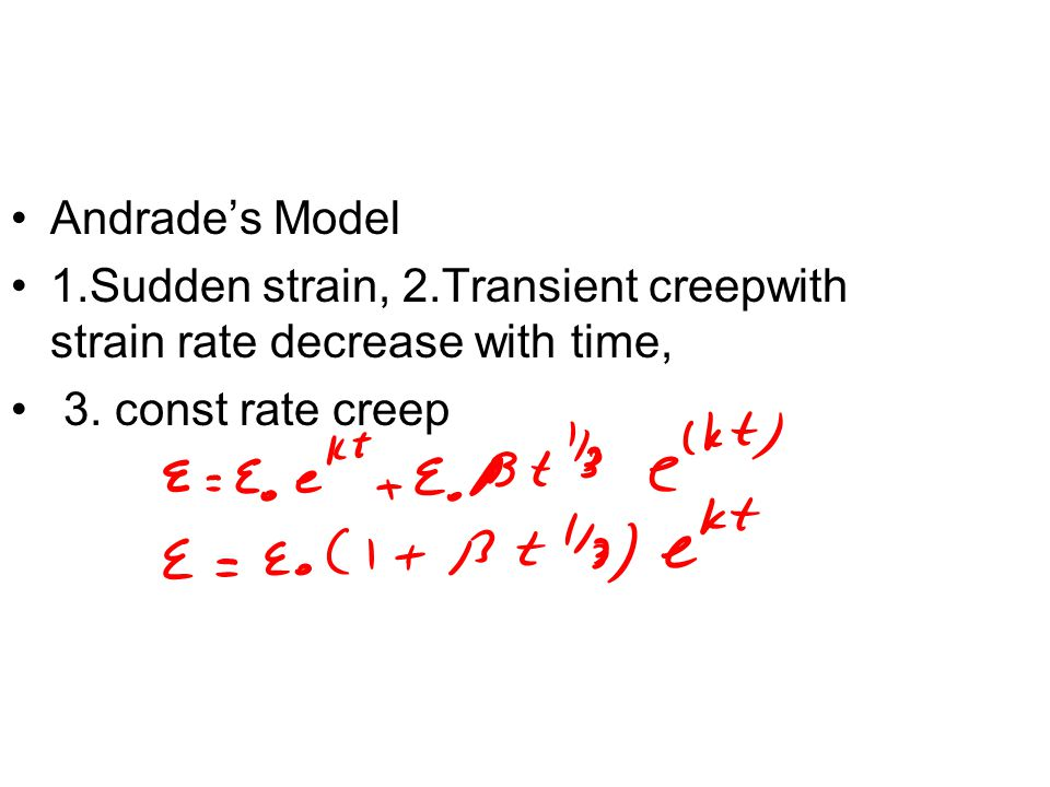 Andrade's Model 1.Sudden strain, 2.Transient creepwith strain rate decrease with time, 3.