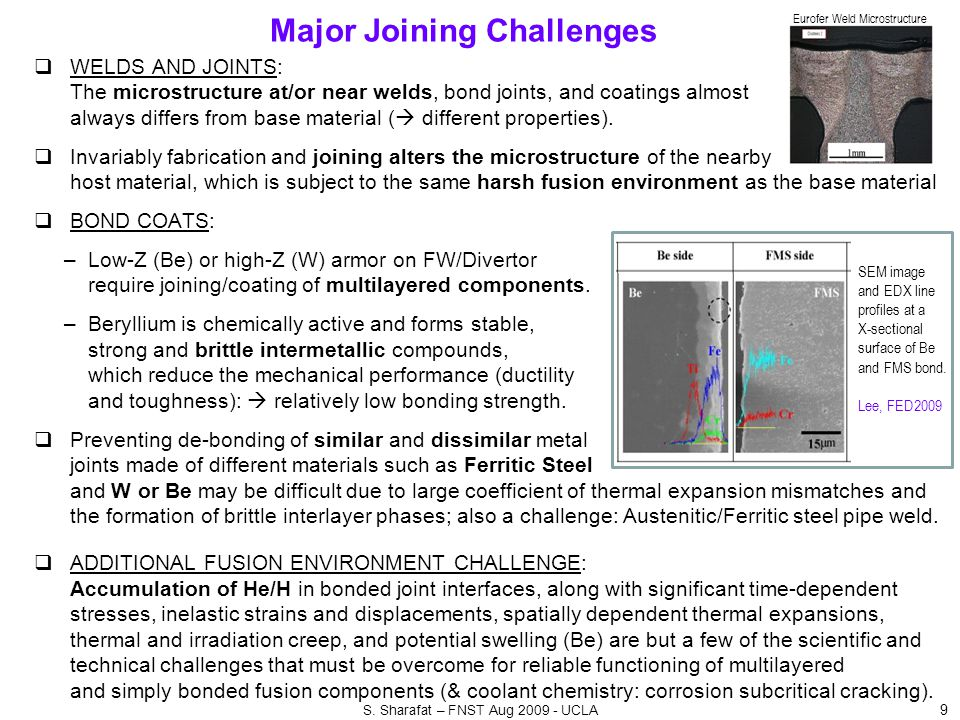 Major Joining Challenges  WELDS AND JOINTS: The microstructure at/or near welds, bond joints, and coatings almost always differs from base material (  different properties).