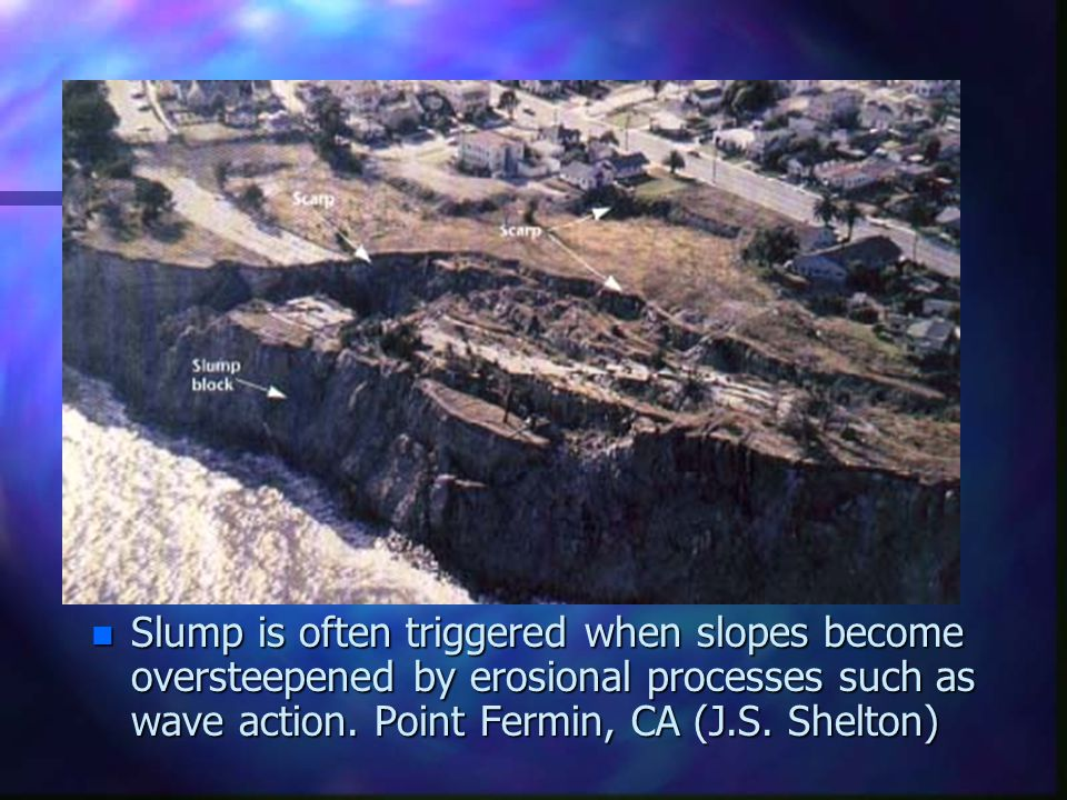 n Slump is often triggered when slopes become oversteepened by erosional processes such as wave action. Point Fermin, CA (J.S. Shelton)