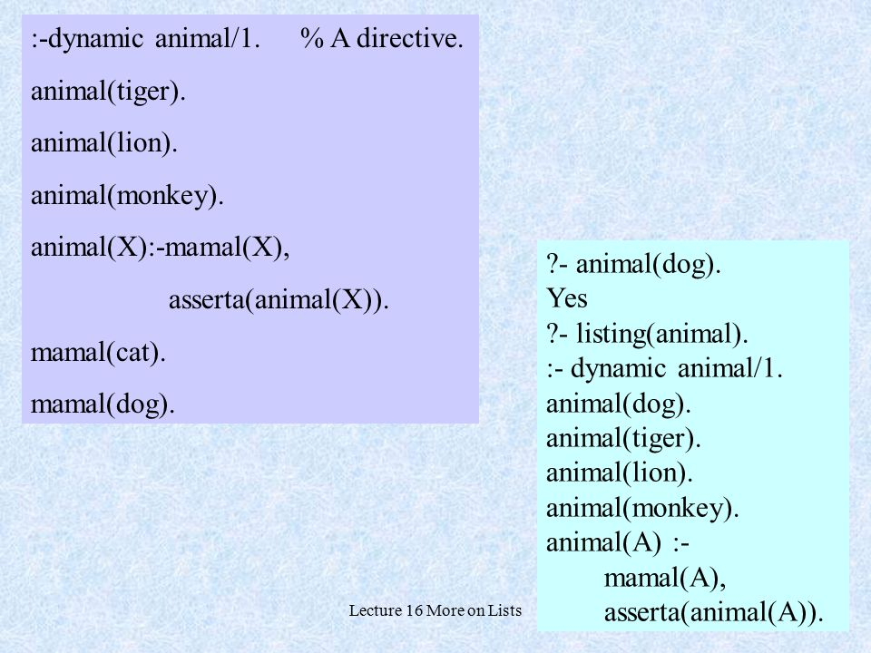 Lecture 16 More on Lists2 :-dynamic animal/1. % A directive. animal(tiger). animal(lion). animal(monkey). animal(X):-mamal(X), asserta(animal(X)). mam