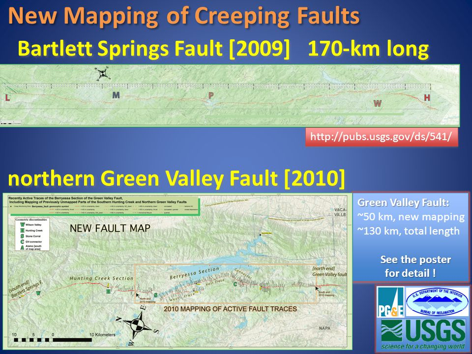 New Mapping of Creeping Faults Bartlett Springs Fault [2009] 170-km long http://pubs.usgs.gov/ds/541/ northern Green Valley Fault [2010] Green Valley