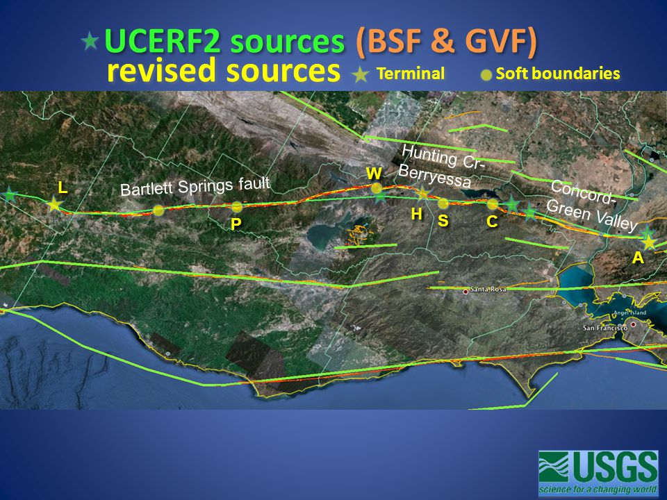 UCERF2 sources (BSF & GVF) revised sources Bartlett Springs fault Hunting Cr- Berryessa Concord- Green Valley Soft boundaries Terminal W W P P L L S S