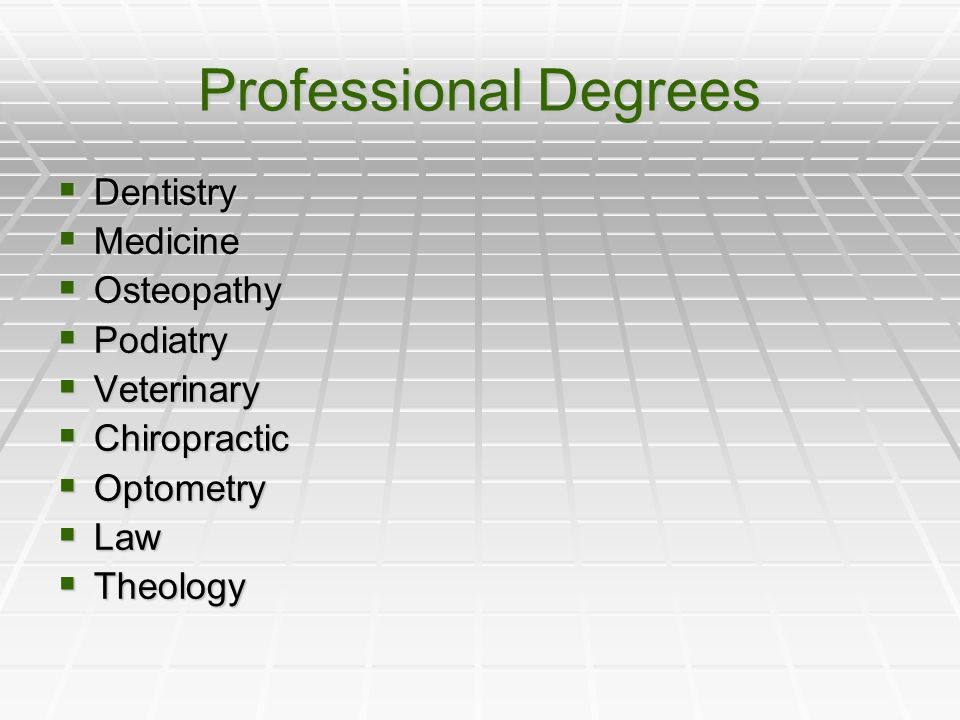 Professional Degrees  Dentistry  Medicine  Osteopathy  Podiatry  Veterinary  Chiropractic  Optometry  Law  Theology