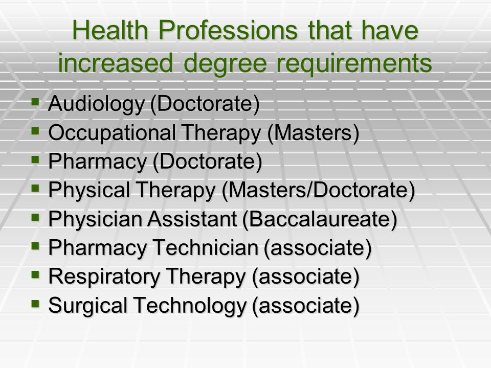 Health Professions that have increased degree requirements  Audiology (Doctorate)  Occupational Therapy (Masters)  Pharmacy (Doctorate)  Physical Therapy (Masters/Doctorate)  Physician Assistant (Baccalaureate)  Pharmacy Technician (associate)  Respiratory Therapy (associate)  Surgical Technology (associate)