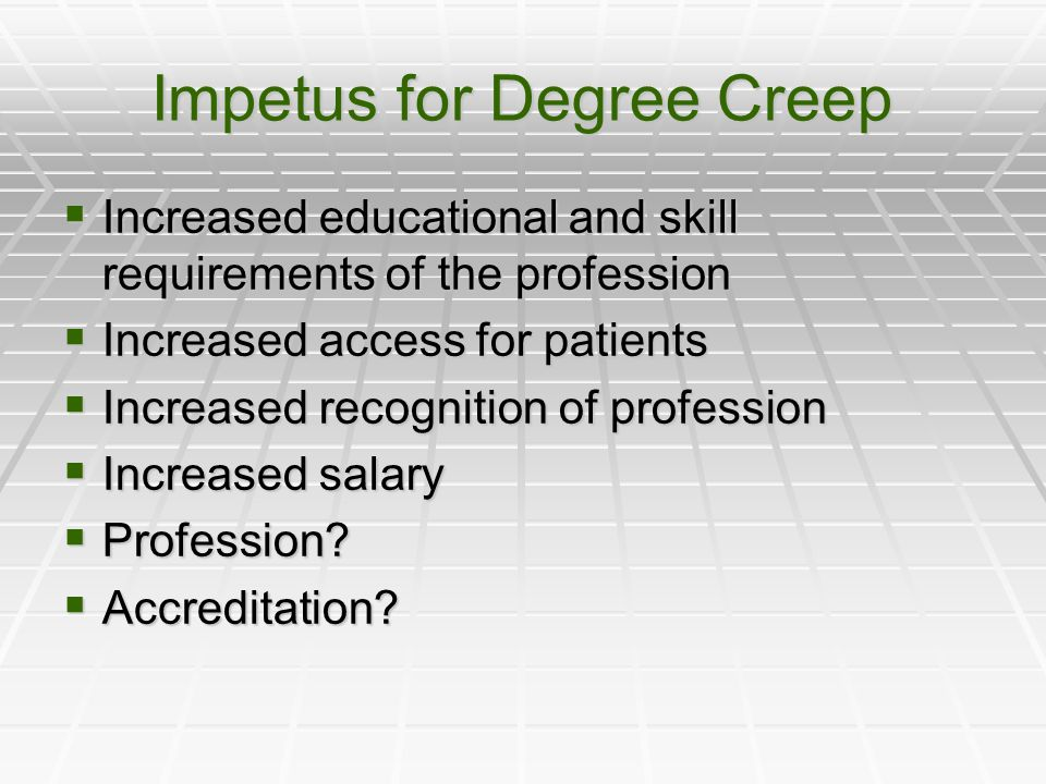Impetus for Degree Creep  Increased educational and skill requirements of the profession  Increased access for patients  Increased recognition of profession  Increased salary  Profession.