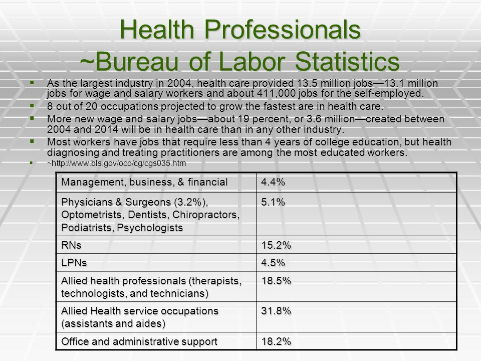 Health Professionals ~Bureau of Labor Statistics  As the largest industry in 2004, health care provided 13.5 million jobs—13.1 million jobs for wage and salary workers and about 411,000 jobs for the self-employed.