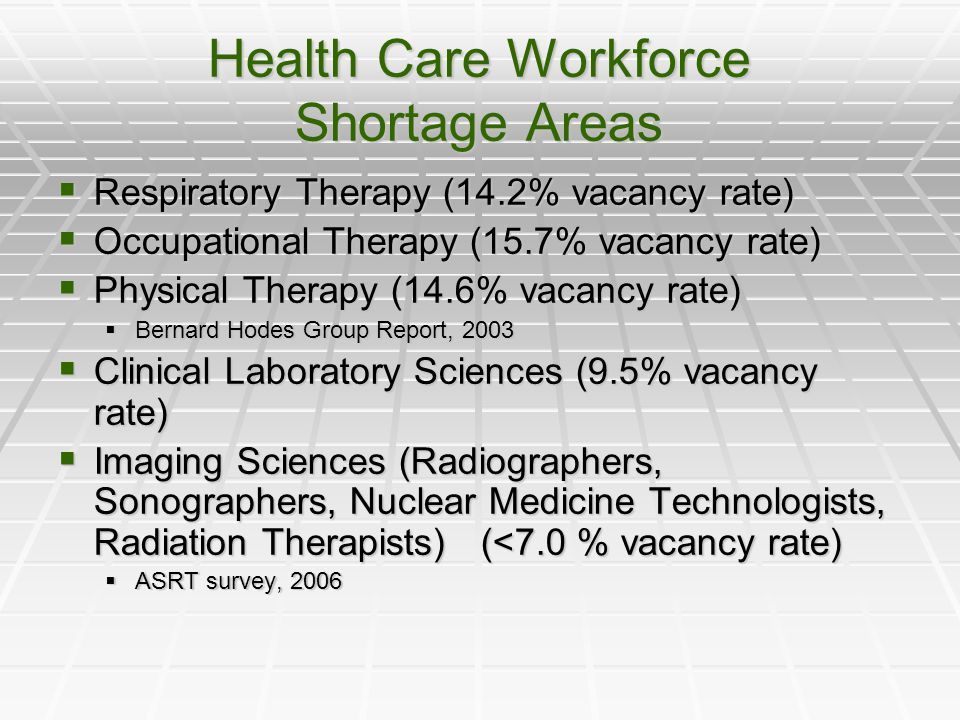 Health Care Workforce Shortage Areas  Respiratory Therapy (14.2% vacancy rate)  Occupational Therapy (15.7% vacancy rate)  Physical Therapy (14.6% vacancy rate)  Bernard Hodes Group Report, 2003  Clinical Laboratory Sciences (9.5% vacancy rate)  Imaging Sciences (Radiographers, Sonographers, Nuclear Medicine Technologists, Radiation Therapists) (<7.0 % vacancy rate)  ASRT survey, 2006