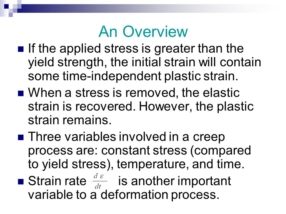 The creep response to a material indicates continuous changes in strain hardening and strain softening that strongly affect the overall strain rate of the material at a given stress and temperature.