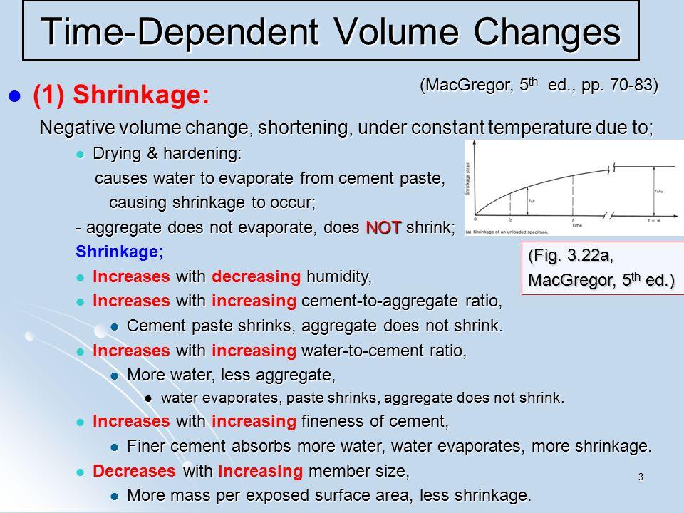 3 Time-Dependent Volume Changes (1) Shrinkage: Negative volume change, shortening, under constant temperature due to; Negative volume change, shorteni