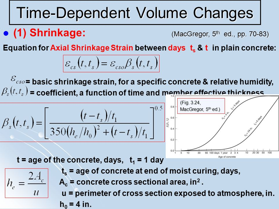 4 Time-Dependent Volume Changes (1) Shrinkage: Equation for Axial Shrinkage Strain between days t s & t in plain concrete: = basic shrinkage strain, f