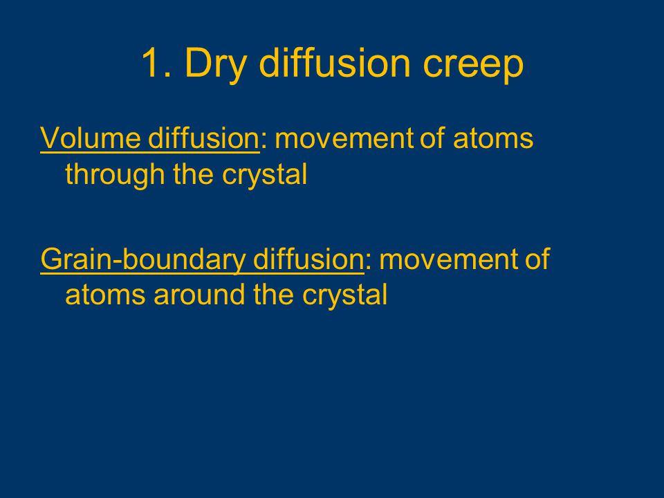 1. Dry diffusion creep Volume diffusion: movement of atoms through the crystal Grain-boundary diffusion: movement of atoms around the crystal