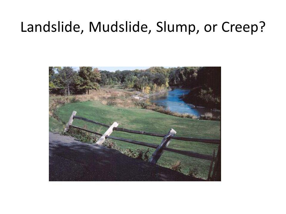 Landslide, Mudslide, Slump, or Creep?