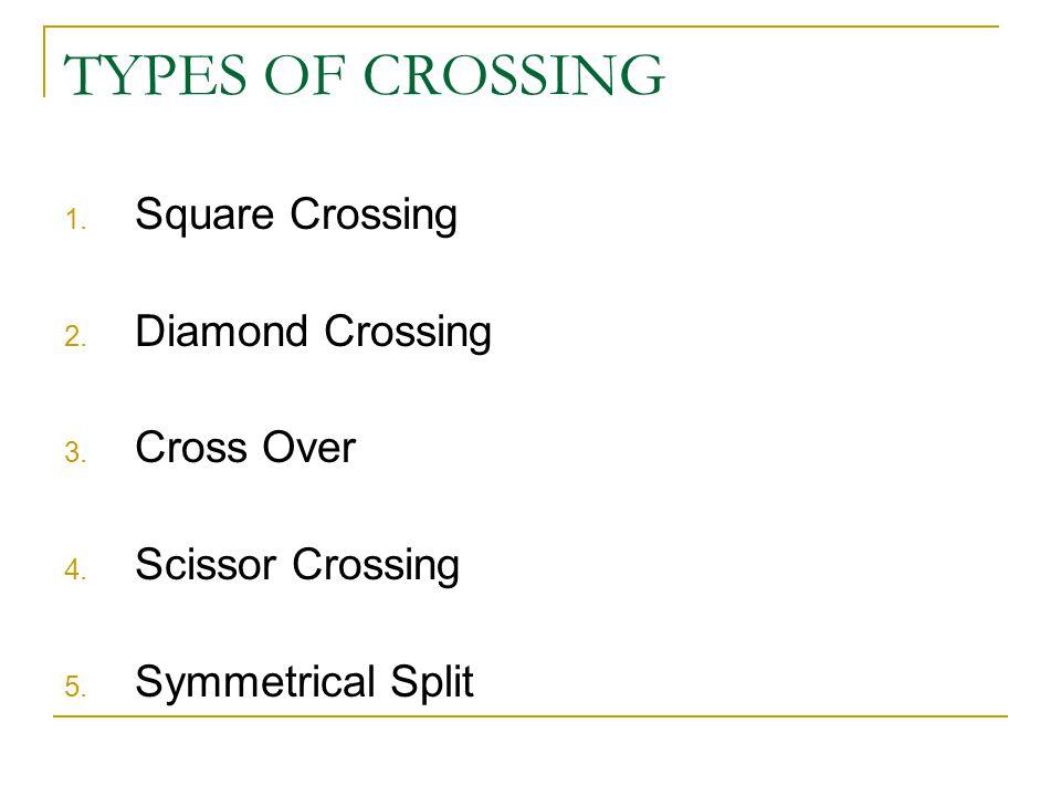1. Square Crossing 2. Diamond Crossing 3. Cross Over 4. Scissor Crossing 5. Symmetrical Split