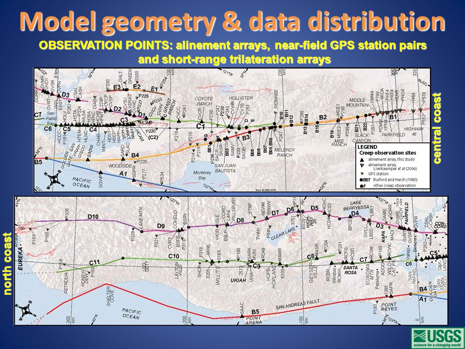 north coast central coast Model geometry & data distribution OBSERVATION POINTS: alinement arrays, near-field GPS station pairs and short-range trilateration arrays and short-range trilateration arrays