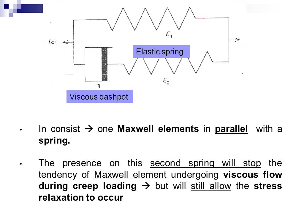 In consist  one Maxwell elements in parallel with a spring. The presence on this second spring will stop the tendency of Maxwell element undergoing v