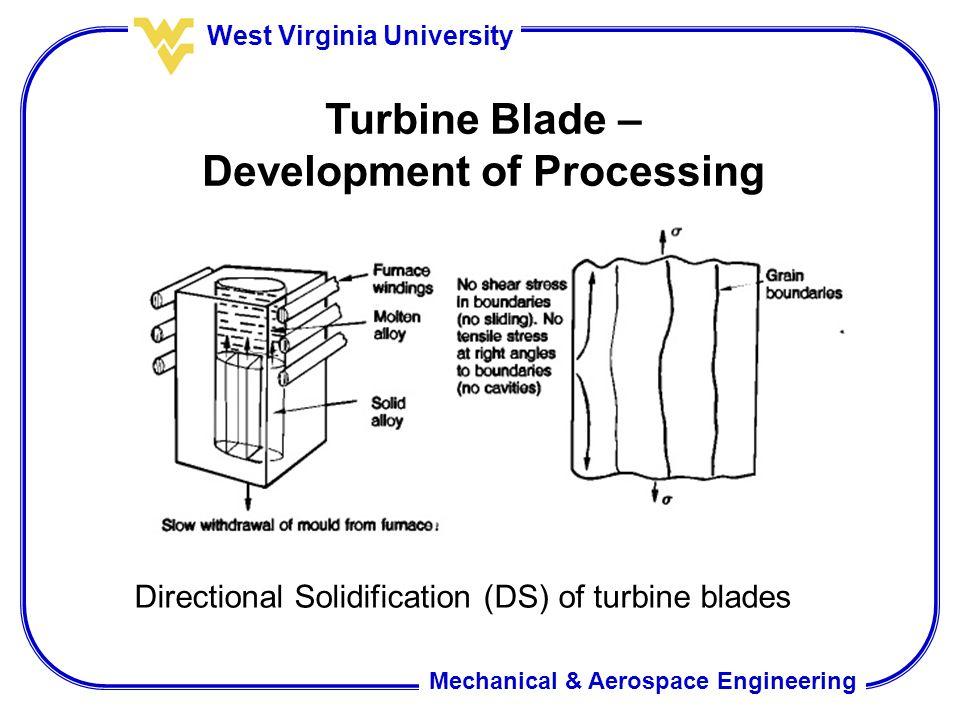 Mechanical & Aerospace Engineering West Virginia University Turbine Blade – Development of Processing Directional Solidification (DS) of turbine blades