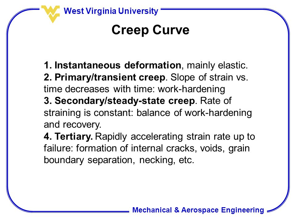 Mechanical & Aerospace Engineering West Virginia University Creep Curve 1. Instantaneous deformation, mainly elastic. 2. Primary/transient creep. Slop
