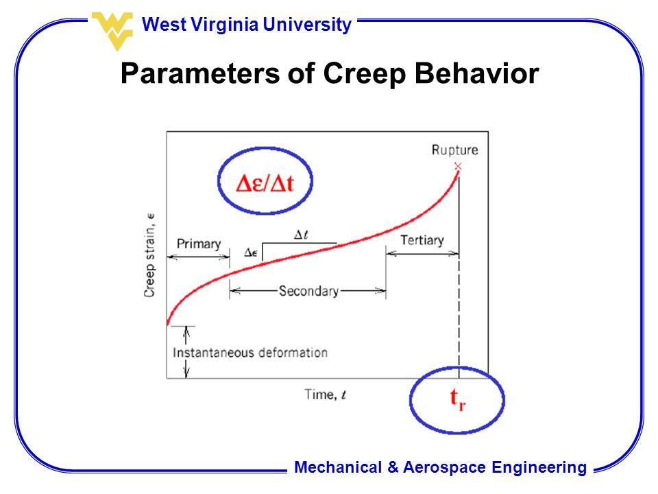 Mechanical & Aerospace Engineering West Virginia University Parameters of Creep Behavior