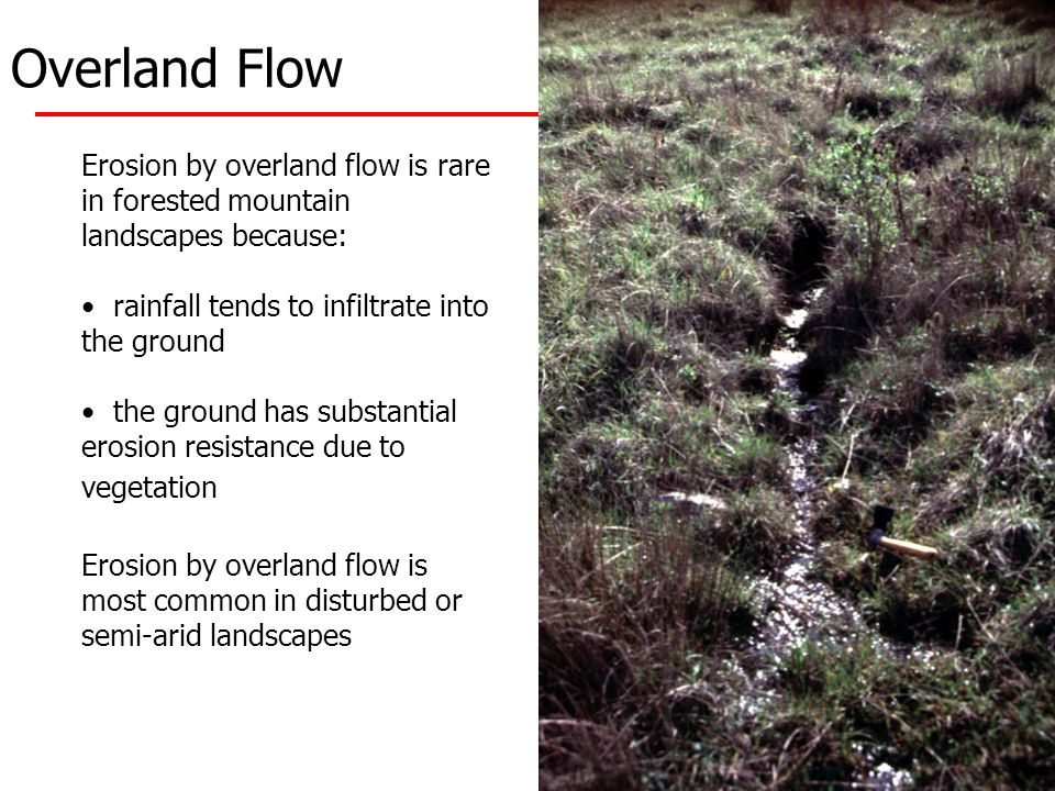 Overland Flow Erosion by overland flow is rare in forested mountain landscapes because: rainfall tends to infiltrate into the ground the ground has substantial erosion resistance due to vegetation Erosion by overland flow is most common in disturbed or semi-arid landscapes