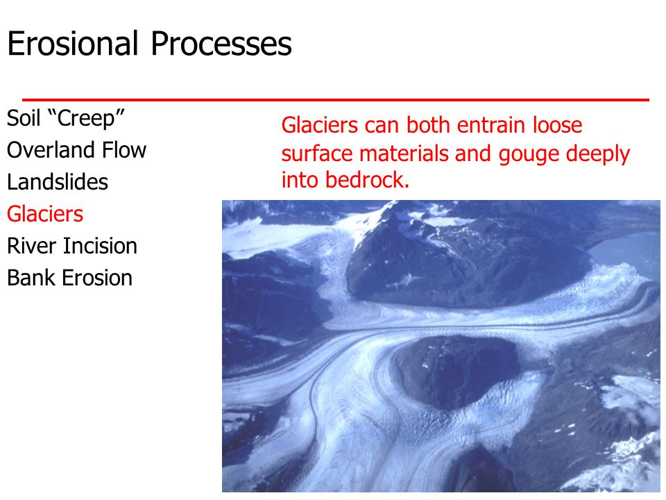 Erosional Processes Soil Creep Overland Flow Landslides Glaciers River Incision Bank Erosion Glaciers can both entrain loose surface materials and gouge deeply into bedrock.
