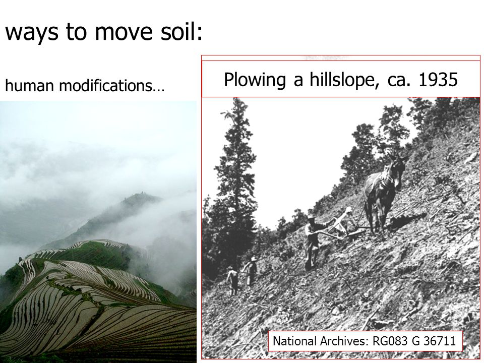 Plowing a hillslope, ca. 1935 National Archives: RG083 G 36711 ways to move soil: human modifications…