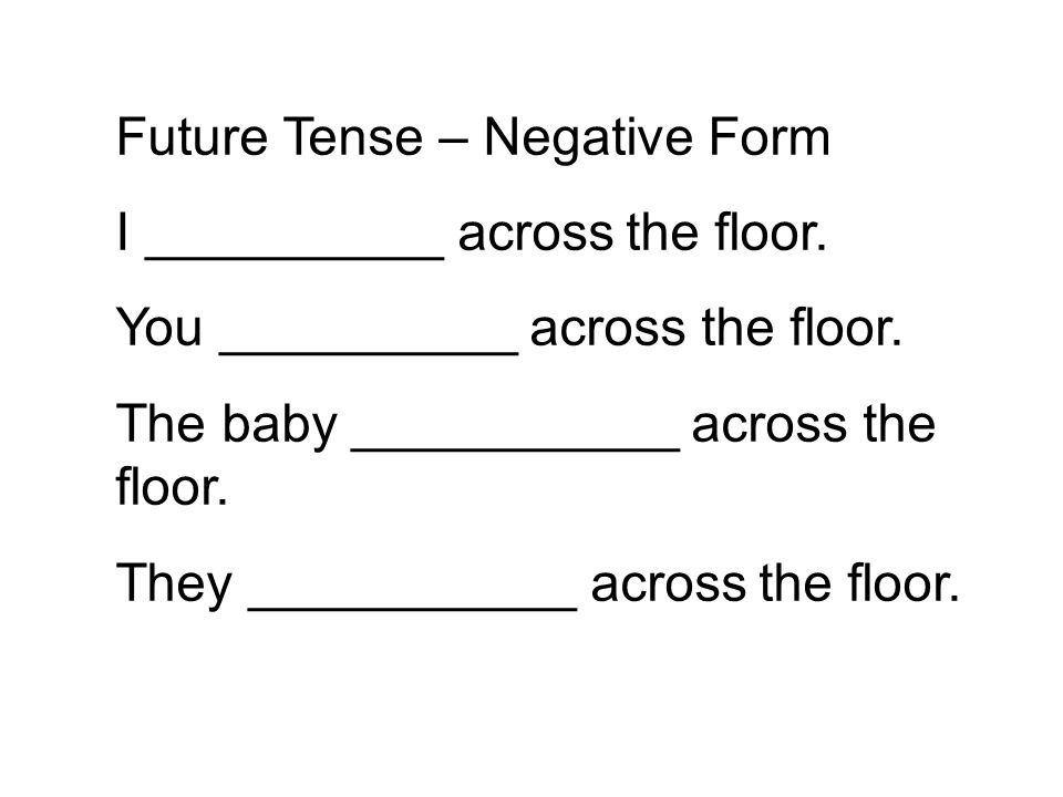 Future Tense – Negative Form I __________ across the floor.