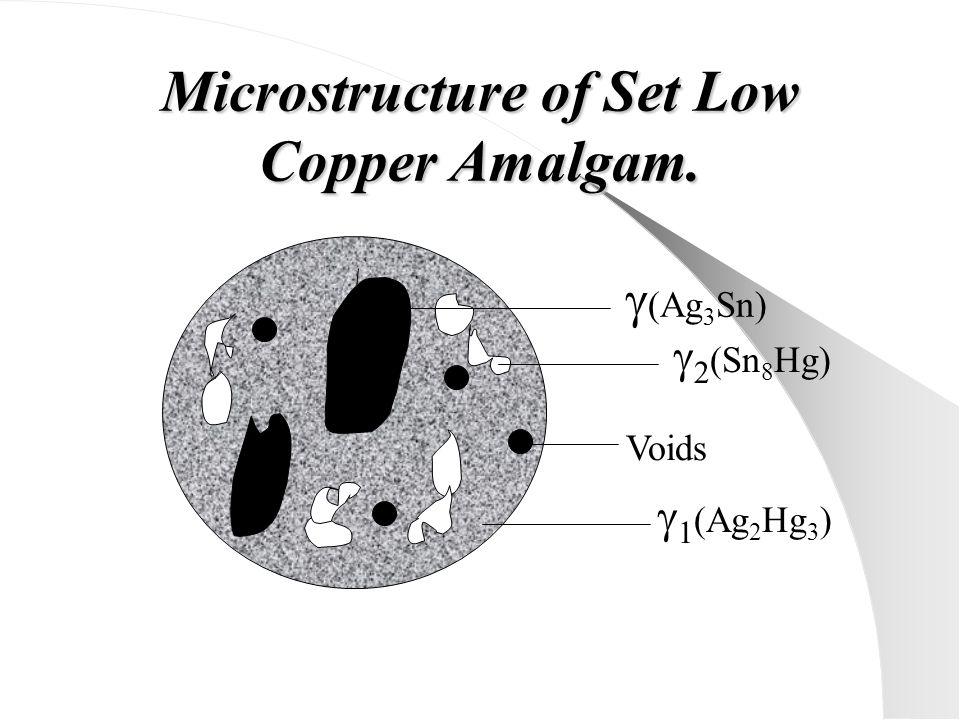 Microstructure of Set Low Copper Amalgam.  (Ag 3 Sn)  2 (Sn 8 Hg) Voids  1 (Ag 2 Hg 3 )