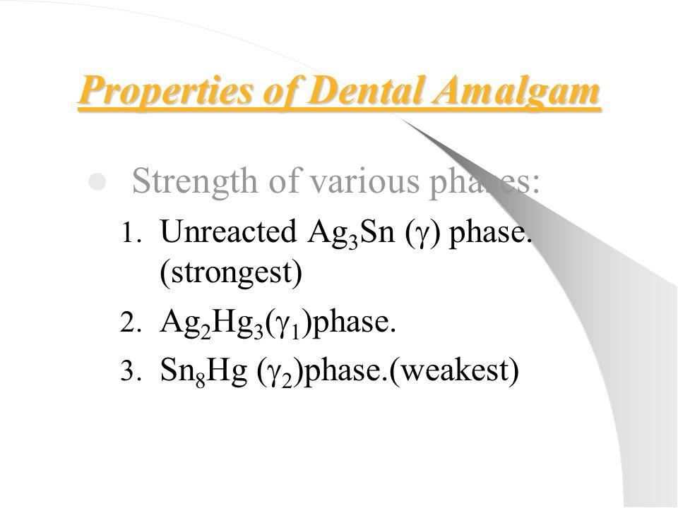Properties of Dental Amalgam Strength of various phases: 1. Unreacted Ag 3 Sn (  ) phase. (strongest) 2. Ag 2 Hg 3 (  1 )phase. 3. Sn 8 Hg (  2 )ph