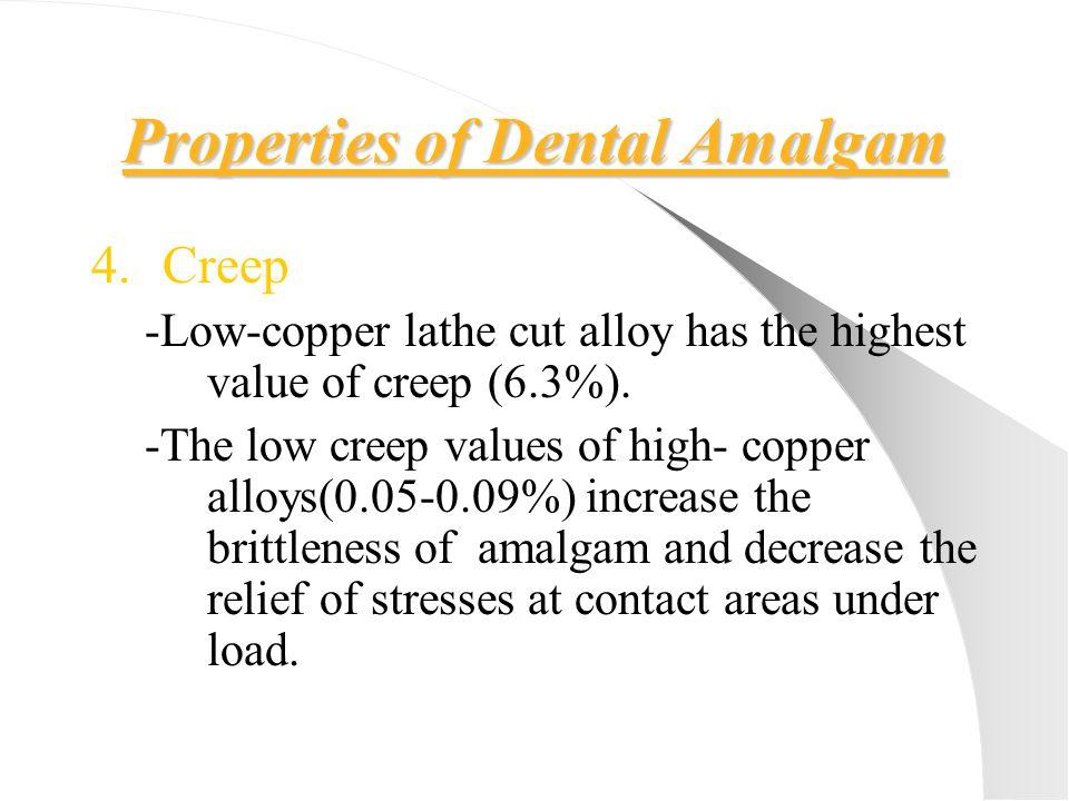 Properties of Dental Amalgam 4.Creep -Low-copper lathe cut alloy has the highest value of creep (6.3%). -The low creep values of high- copper alloys(0