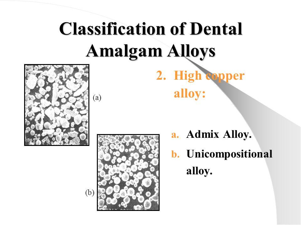 Classification of Dental Amalgam Alloys 2.High copper alloy: a. Admix Alloy. b. Unicompositional alloy. (a) (b)