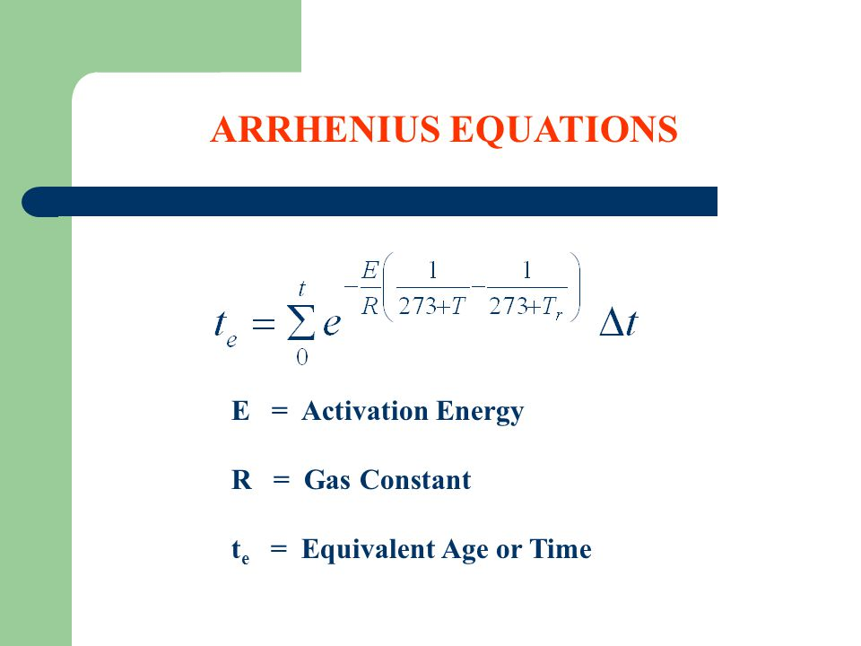 Maturity Concepts Nurse - Saul Equation (units: Temp – Time) Maturity: Product of time & temperature T o = Datum Temperature T = Average Concrete Temperature over Time t M = Maturity