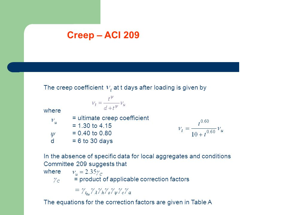 Shrinkage – ACI The shrinkage strain at t days after the end of initial curing is where = ultimate shrinkage strain = 415 to 1070 micro-strain = 0.9 to 1.10 and f = 20 to 130 days In the absence of specific data for local aggregate and conditions Committee 209 suggests that With = product of applicable correction factors The equations for the correction factors are given in Table A