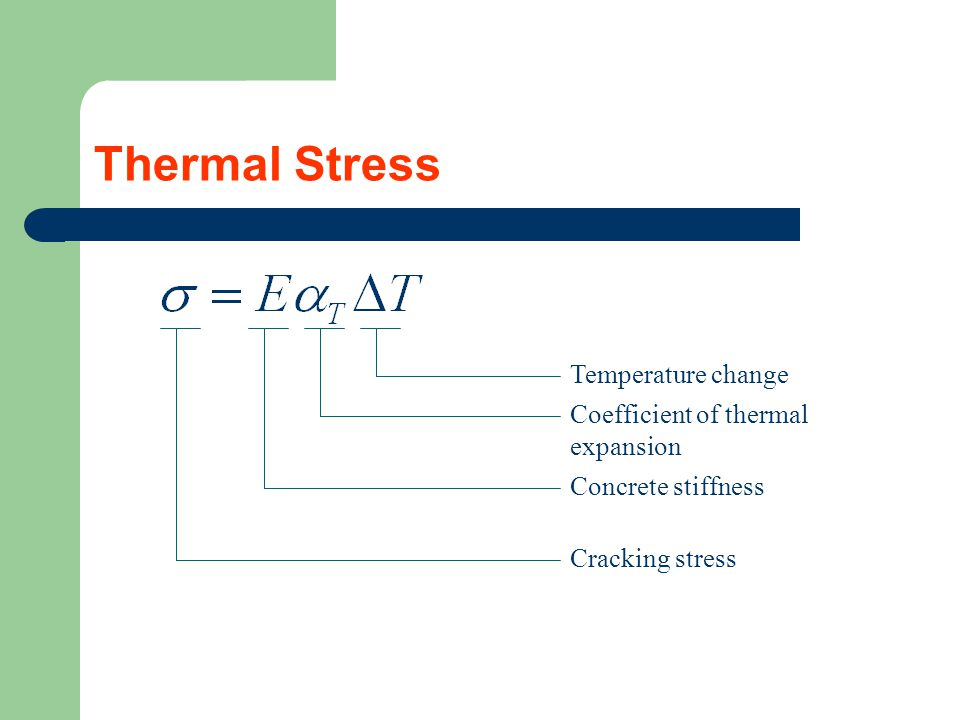 Thermal Stress Temperature change Coefficient of thermal expansion Concrete stiffness Cracking stress