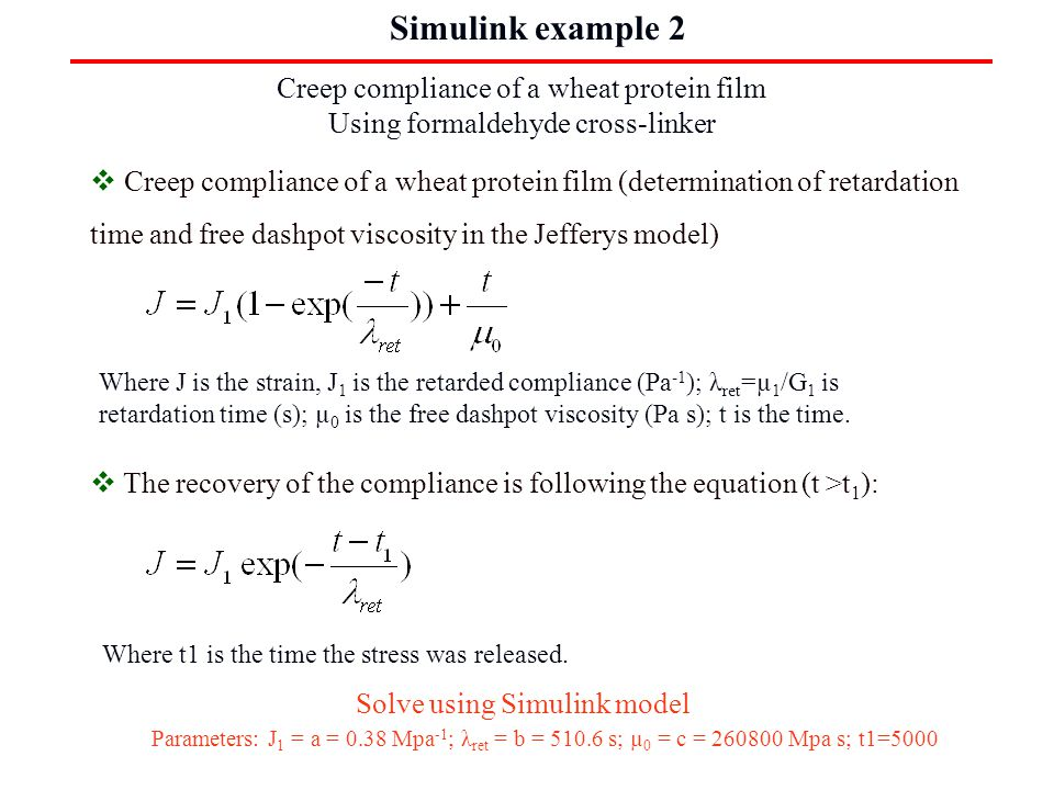 4. Simulink examples Creep compliance of a wheat protein film Simulation result