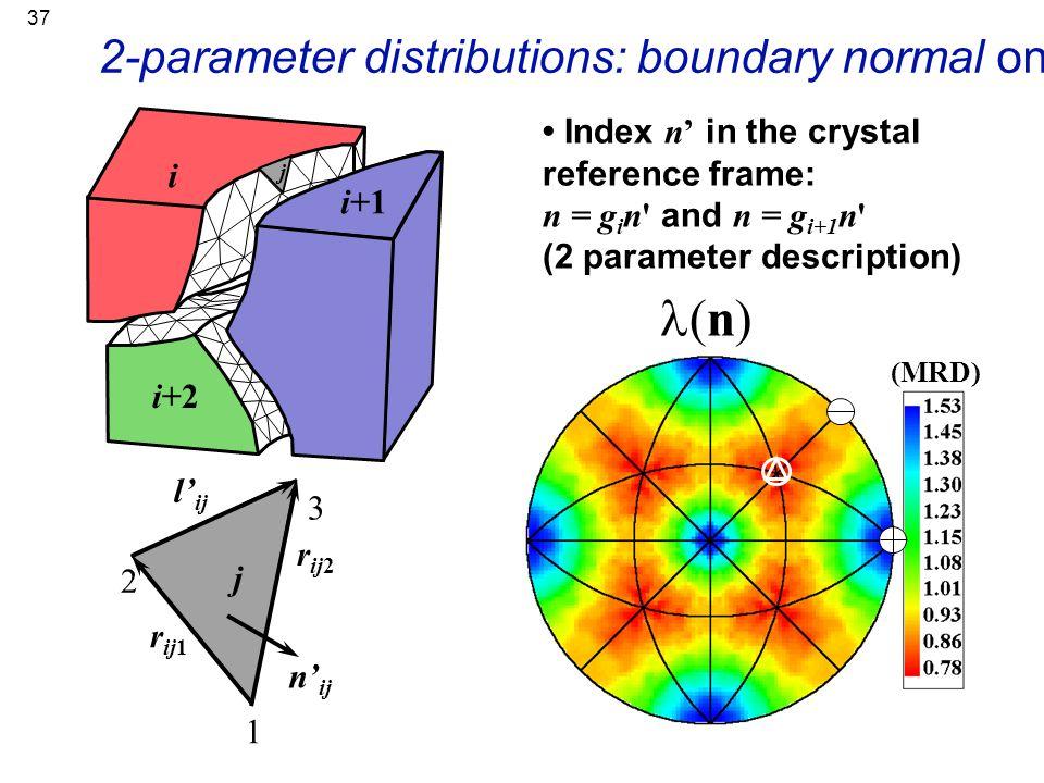 37 r ij2 j 1 2 3 r ij1 n' ij l' ij 2-parameter distributions: boundary normal only (n) (MRD) Index n' in the crystal reference frame: n = g i n' and n