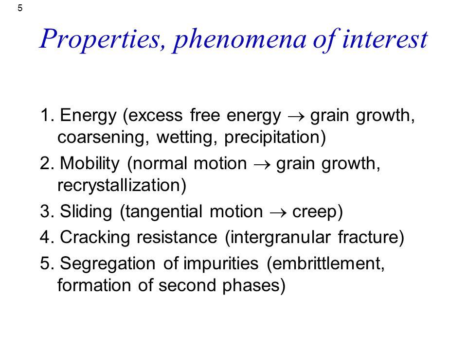 5 Properties, phenomena of interest 1. Energy (excess free energy  grain growth, coarsening, wetting, precipitation) 2. Mobility (normal motion  gra