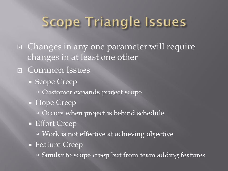  Changes in any one parameter will require changes in at least one other  Common Issues  Scope Creep  Customer expands project scope  Hope Creep