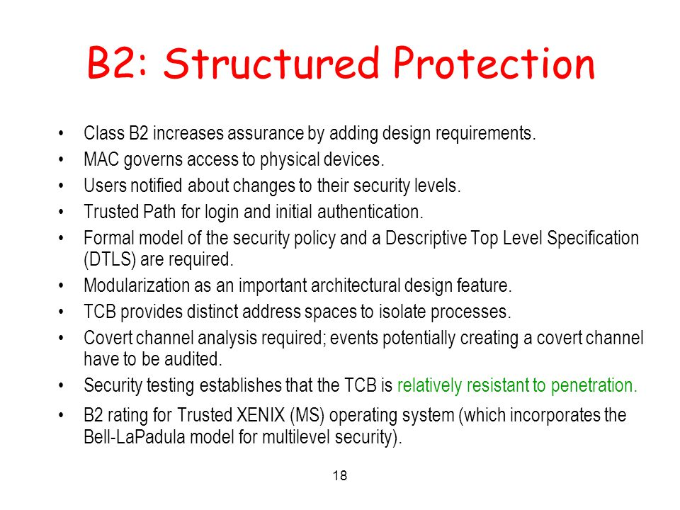 18 B2: Structured Protection Class B2 increases assurance by adding design requirements.