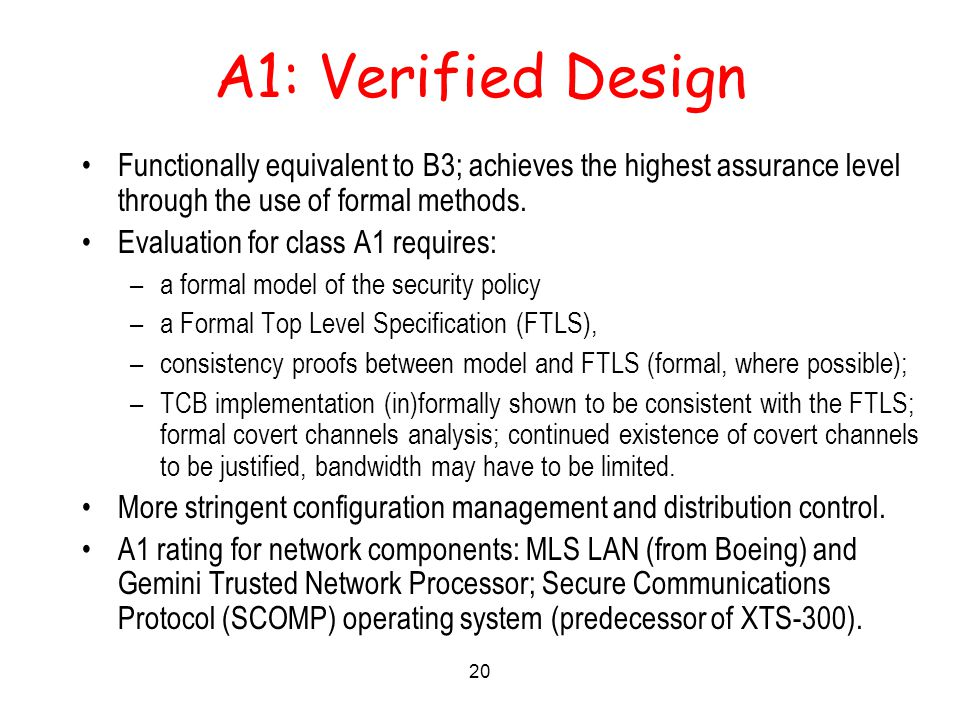 20 A1: Verified Design Functionally equivalent to B3; achieves the highest assurance level through the use of formal methods.