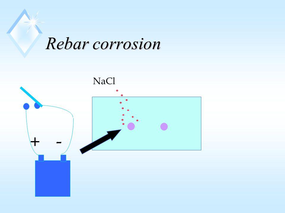 Rebar corrosion NaCl + -