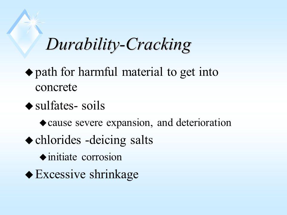 Durability-internal problems u Alkali-silica reaction u excessive sulfates